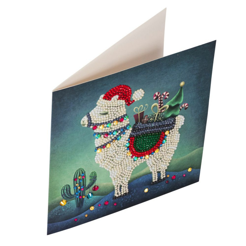 Crystal Art Kit Carte broderie diamant 18x18cm Lama Noël