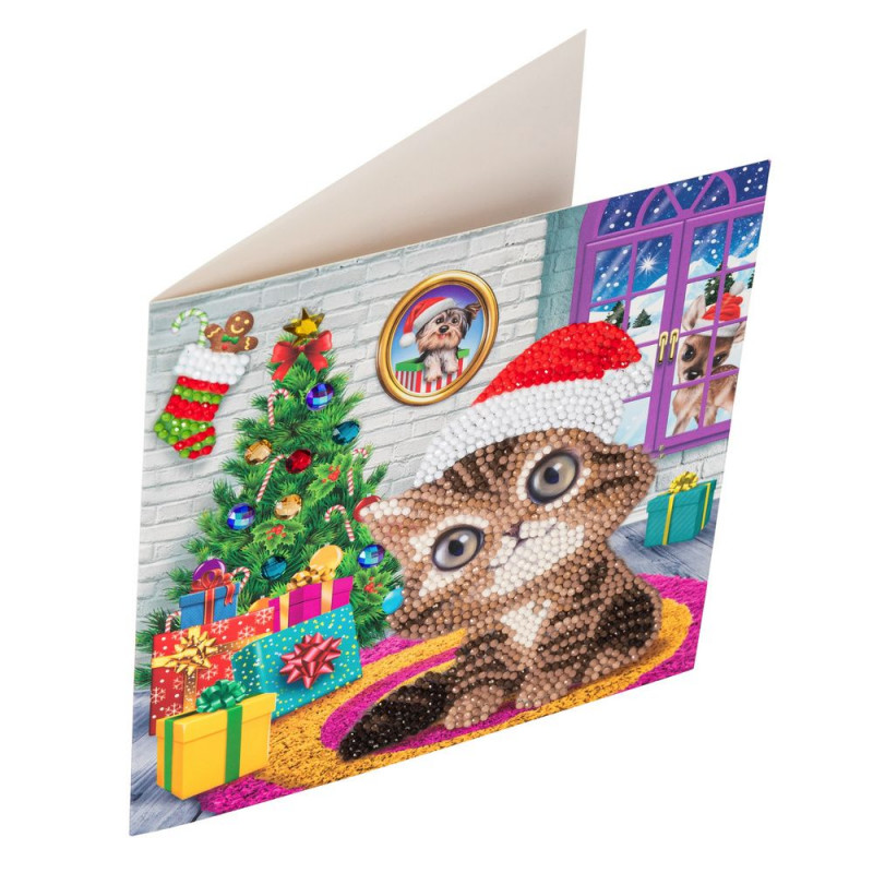 Crystal Art Kit Carte broderie diamant 18x18cm Chaton Noël