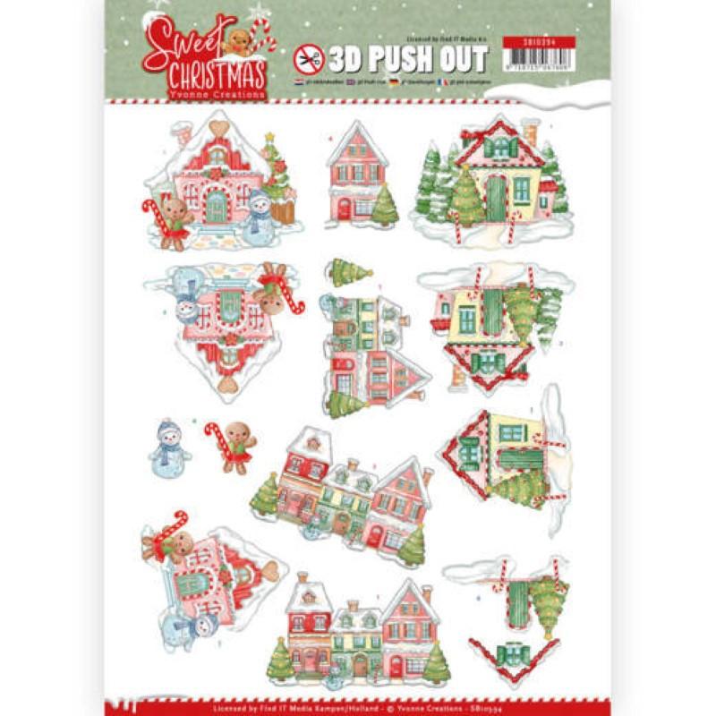 Carte 3D prédéc. - SB10394 - Sweet Christmas - Maisons à Noël