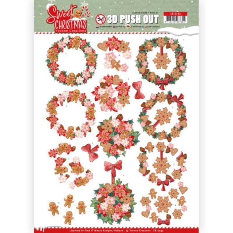 Carte 3D prédéc. - SB10395 - Sweet Christmas - Couronnes de Noël