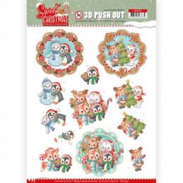 Carte 3D prédéc. - SB10397 - Sweet Christmas - Petits animaux de Noël