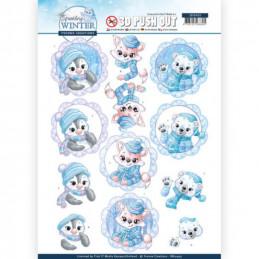 Carte 3D prédéc. - SB10403 - Sparkling winter - Bébés animaux en hiver