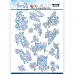 Carte 3D prédéc. - SB10404 - Sparkling winter - Oiseaux d'hiver