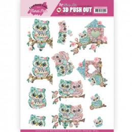 Carte 3D prédéc. - SB10411 - Kitschy Lala - Chouettes colorées