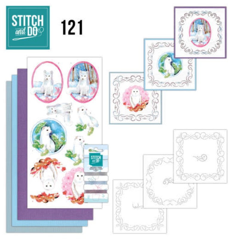 Stitch and do 121 - kit Carte 3D broderie - Animaux en hiver