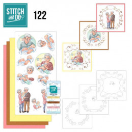 Stitch and do 122 - kit Carte 3D broderie - Grands parents et bébé
