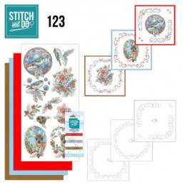 Stitch and do 123 - kit Carte 3D broderie - Faon oiseaux et baies