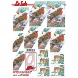 Carte 3D à découper - Pyramide rouge gorge-loir - 630178