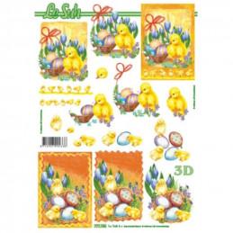 Carte 3D à découper - Pâques panier ruban rouge - 777156