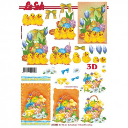 Carte 3D à découper - Pâques trois poussins - 777157