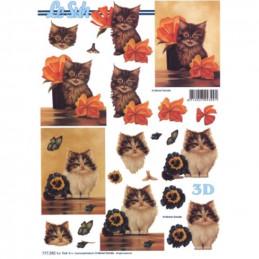 Carte 3D à découper -  2 chatons - 777282
