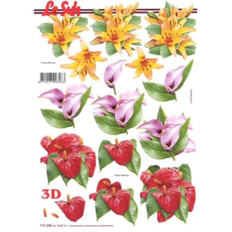 Carte 3D à découper - Lys/Arums/Anthurium - 777298
