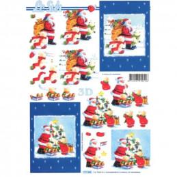 Carte 3D à découper - Père Noël et oursons - 777341