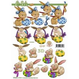 Carte 3D à découper - Lapins de Pâques - 777411