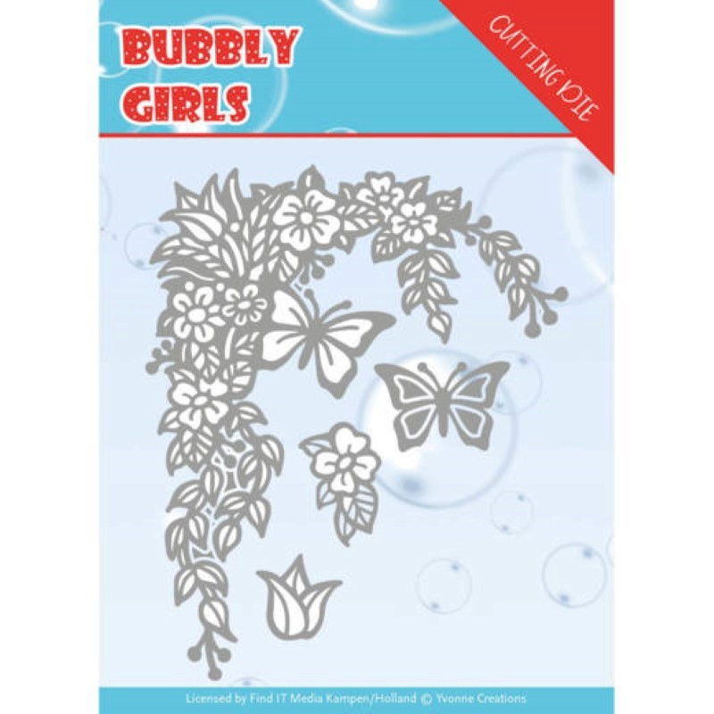 Dies - Yvonne Creations - Bubbly girls - Coin fleuri et papillons