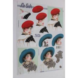 Carte 3D à découper -  femmes à chapeau - 4169122