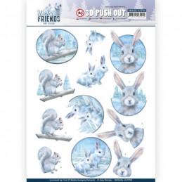 Carte 3D prédéc. - SB10406 -  Winter Friends  - Lapins et écureuils