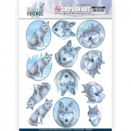 Carte 3D prédéc. - SB10407 -  Winter Friends  - Loups en hiver