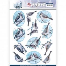 Carte 3D prédéc. - SB10408 -  Winter Friends  - Oiseaux en hiver
