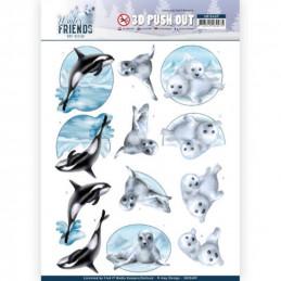 Carte 3D prédéc. - SB10409 -  Winter Friends  - Phoques et orques