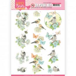 Carte 3D prédéc. - SB10414 -  Happy birds - Oiseaux et papillons