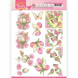 Carte 3D prédéc. - SB10415 -  Happy birds - Oiseaux et fleurs roses
