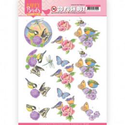 Carte 3D prédéc. - SB10416 -  Happy birds - Oiseaux et fleurs mauves