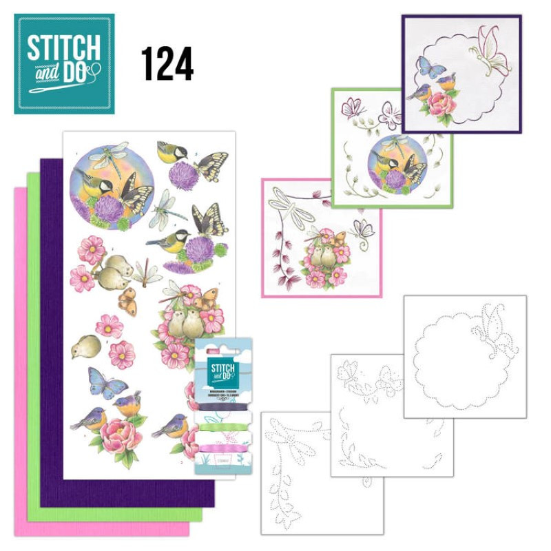 Stitch and do 124 - kit Carte 3D broderie - Happy birds