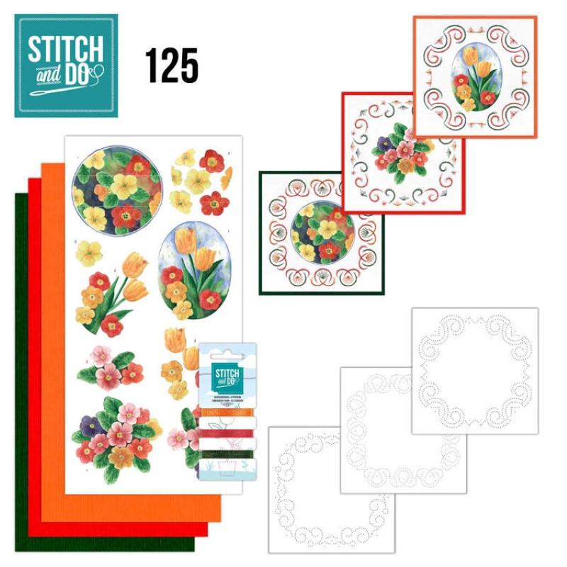 Stitch and do 125 - kit Carte 3D broderie - Fleurs de printemps