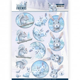 Carte 3D à découper - CD11405 - Winter friends - Animaux du froid