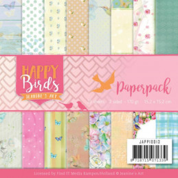 Bloc de papier - Jeanine art - Happy Birds 15.2 x 15.2
