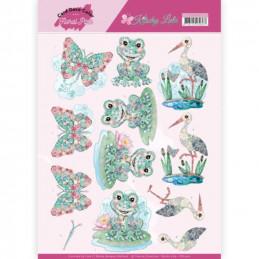 Carte 3D à découper - CD11421 - Kitschy Lala - Grenouille papillon et héron