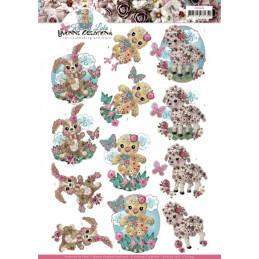 Carte 3D à découper - CD11435 - Kitschy Lala - Bébés animaux