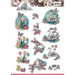 Carte 3D à découper - CD11437 - Kitschy Lala - Oiseaux