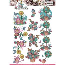 Carte 3D à découper - CD11438 - Kitschy Lala - Fleurs