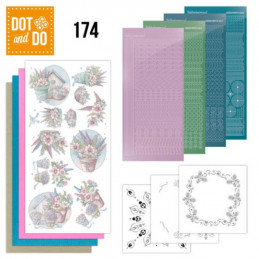 Dot and do 174 - kit Carte 3D  - Fleurs en pastel