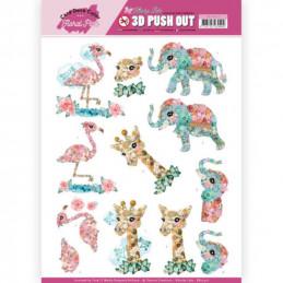 Carte 3D prédéc. - SB10410 - Kitschy Lala - Flamand rose éléphant et girafe