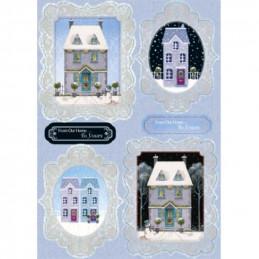Carte prédécoupée - PCT1011 - Maisons encadrées fond