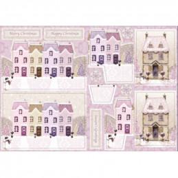 Carte prédécoupée - PCT1023 - Maisons colorées