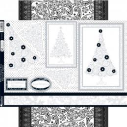 Carte prédécoupée - PCT9359 - Sapin de Noël Blancs