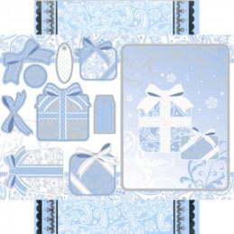 Carte prédécoupée - PCT9363 - Cadeaux de noël bleus