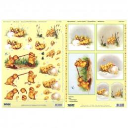 Carte 3D prédéc. - A4 - 83543 - recto/verso -  Poussins et canetons