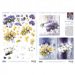 Carte 3D prédéc. - A4 - 83855 - recto/verso mini tableaux de fleur