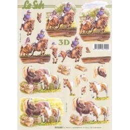 Carte 3D à découper -  Poneys - 8215282