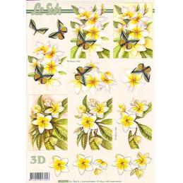 Carte 3D à découper - 8215194 -  Fleur jaunes/papillons