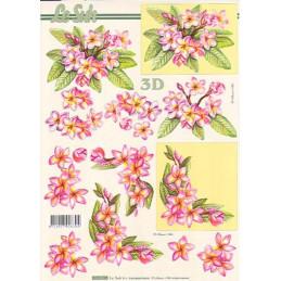 Carte 3D à découper - 8215195 - Fleur roses et jaunes