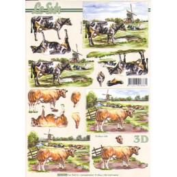 Carte 3D à découper - 8215199 - Vaches et moulins