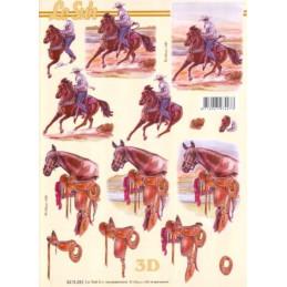 Carte 3D à découper - 8215283 - Chevaux et cowboy