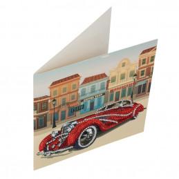 Crystal Art Kit Carte broderie diamant 18x18cm Voiture de collection