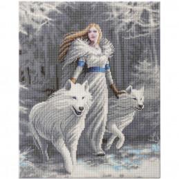 Broderie diamant Crystal Art Kit tableau 40x50cm Femme aux loups